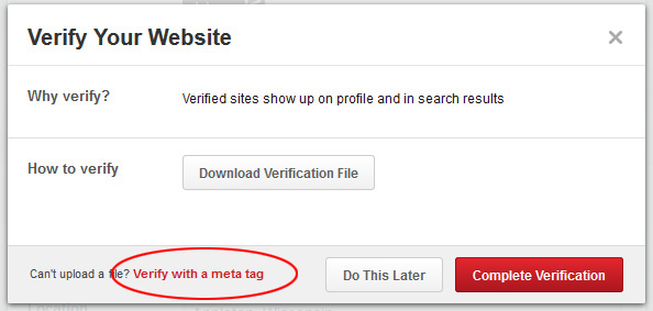 How to Verify Your Website or Blog on your Pinterest Account