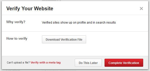 Verify Pinterest Website