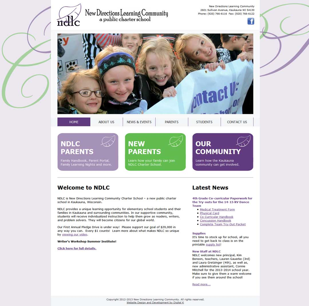 Website design for charter school: New Directions Learning Community in Kaukauna, WI.
