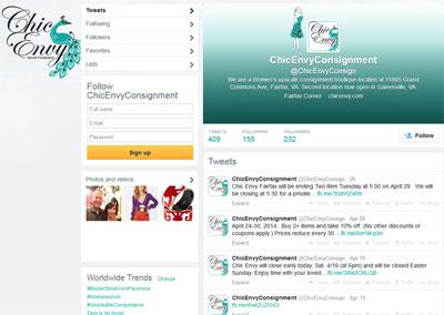 Chic Envy Twitter Branding