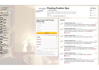 Floating Feather Spa Twitter Branding