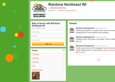 Rainbow Play Systems Twitter Branding