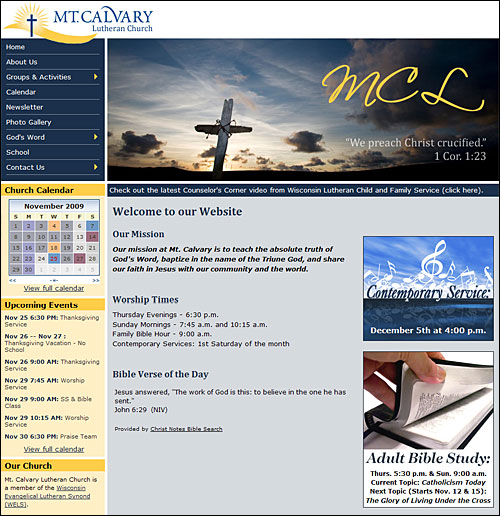 Church Calendar Design.Church Website Design And Development Mt Calvary Church