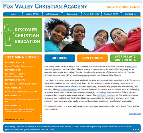 Our Work View Our Digital Print Web Projects: School Web Design For Fox Valley Christian Academy