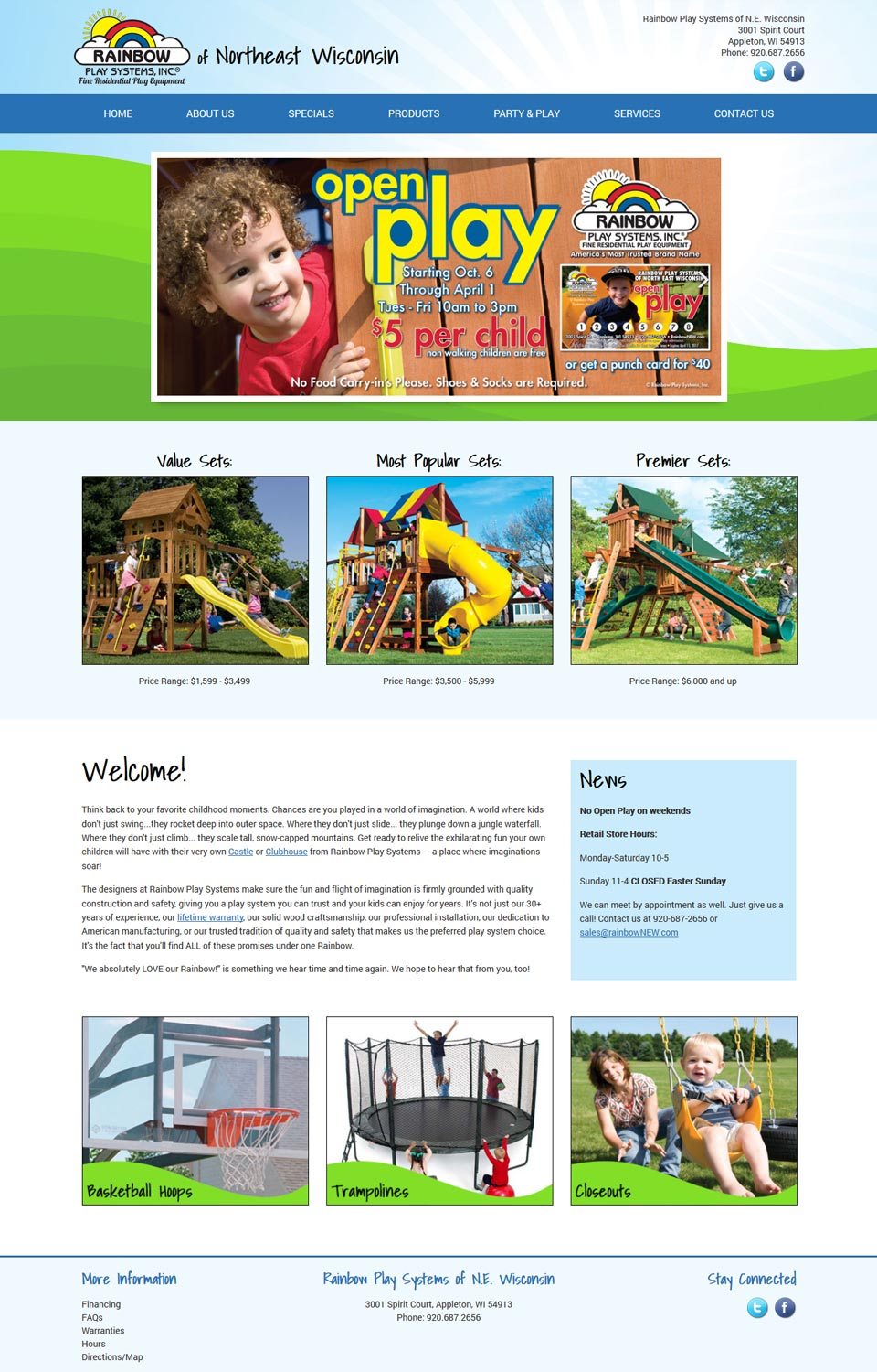 Children's Play Systems Website Redesign