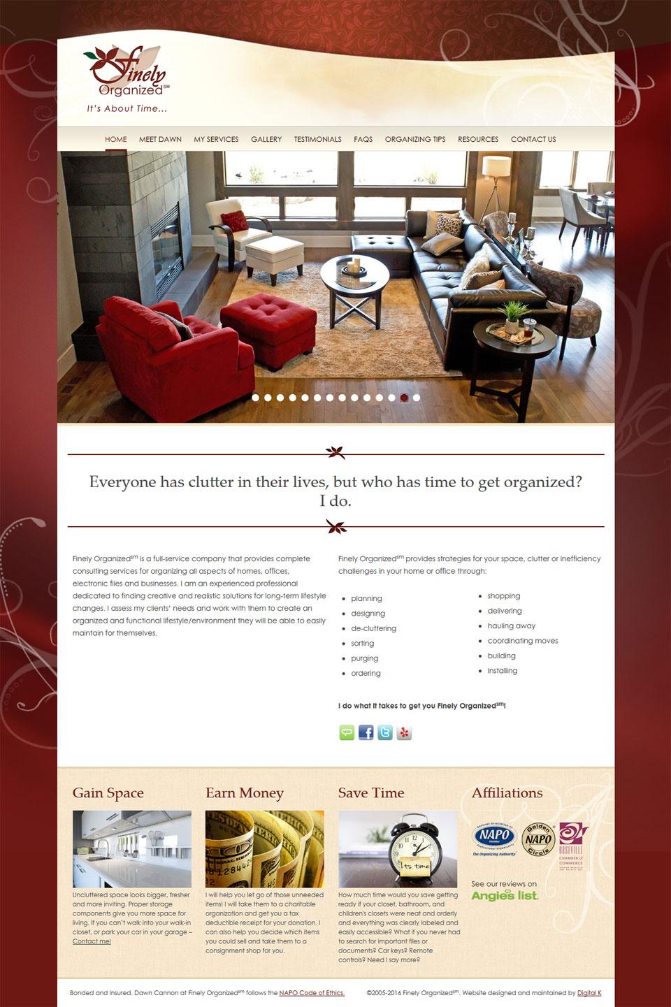 Professional Organizer Website Design