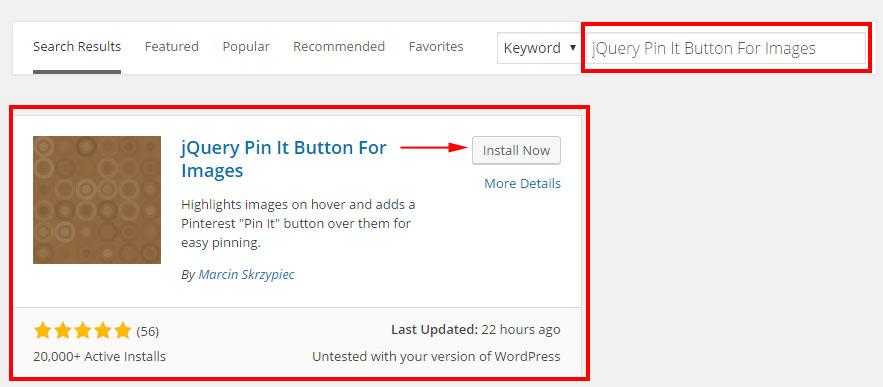 Pinterest Hover Button WordPress Plugin