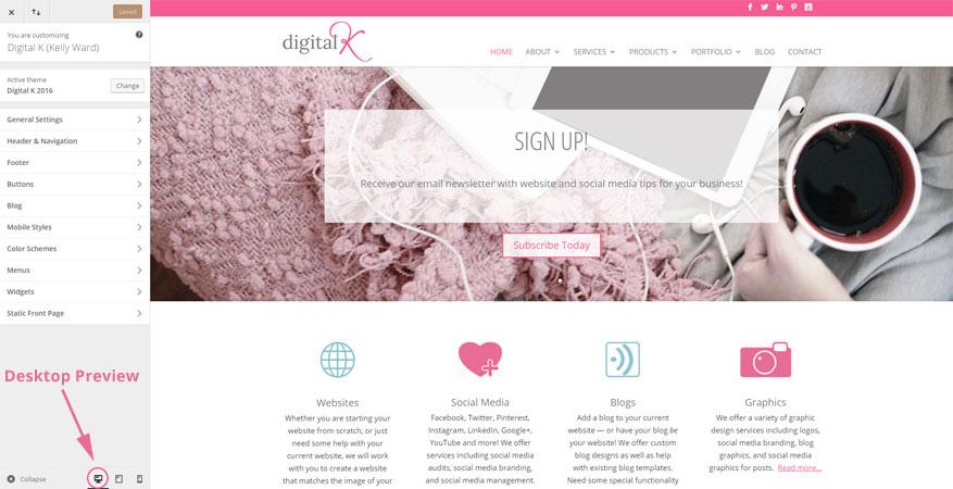 Wordpress Responsive Preview: Desktop