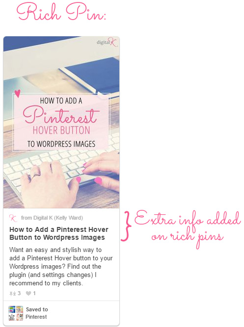 Pinterest Rich Pins display extra info from your blog