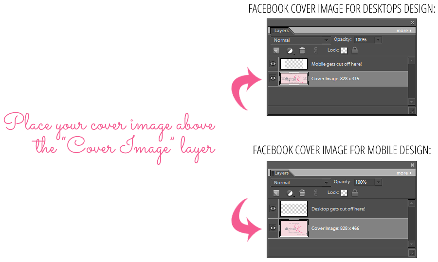 How to use the templates for Facebook Cover image designs for desktops and mobile devices