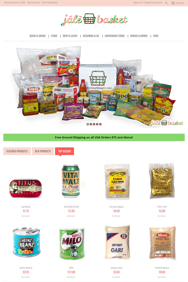 food industry eccomerce website design in BigCommerce