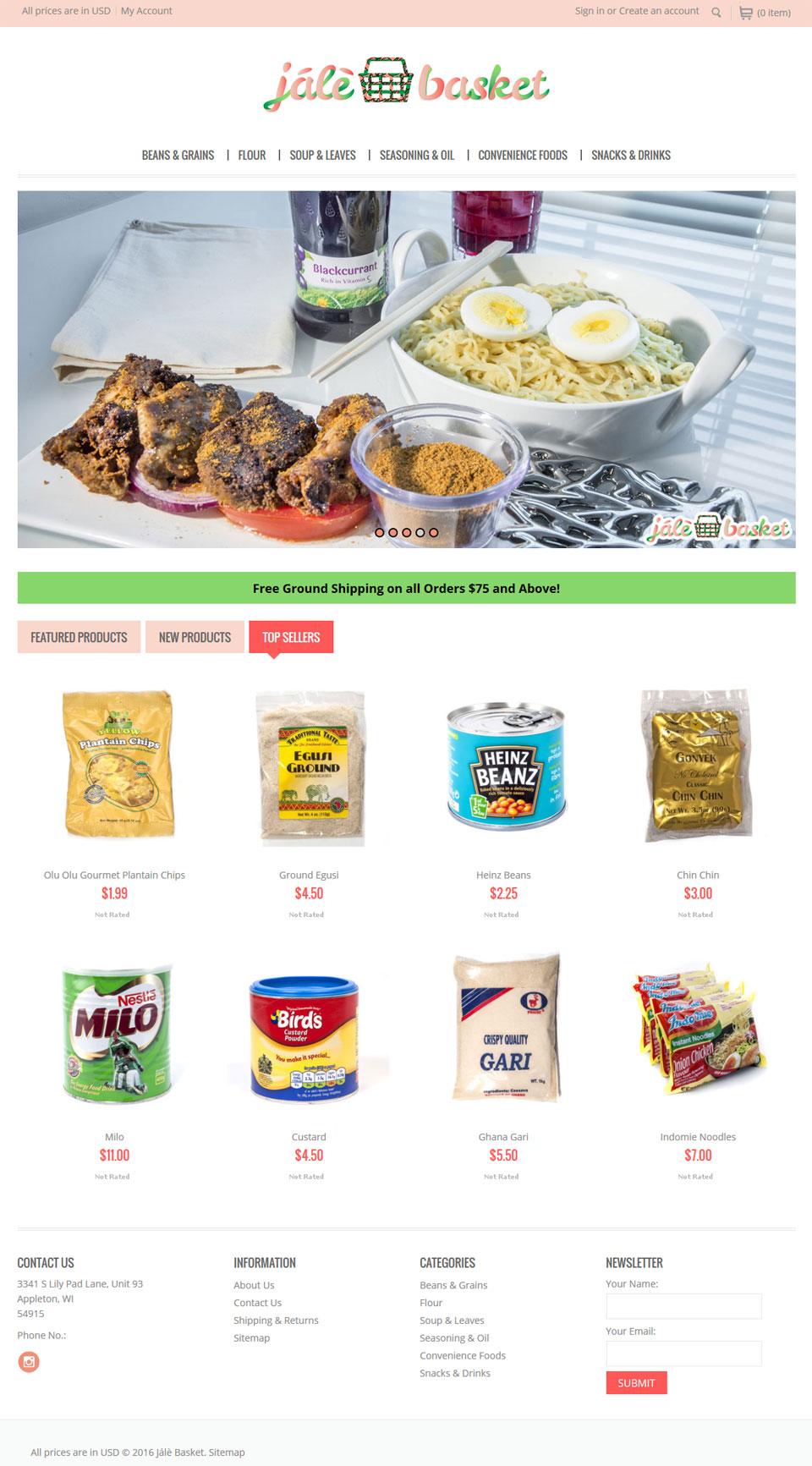 food industry eccomerce website design in BigCommerce