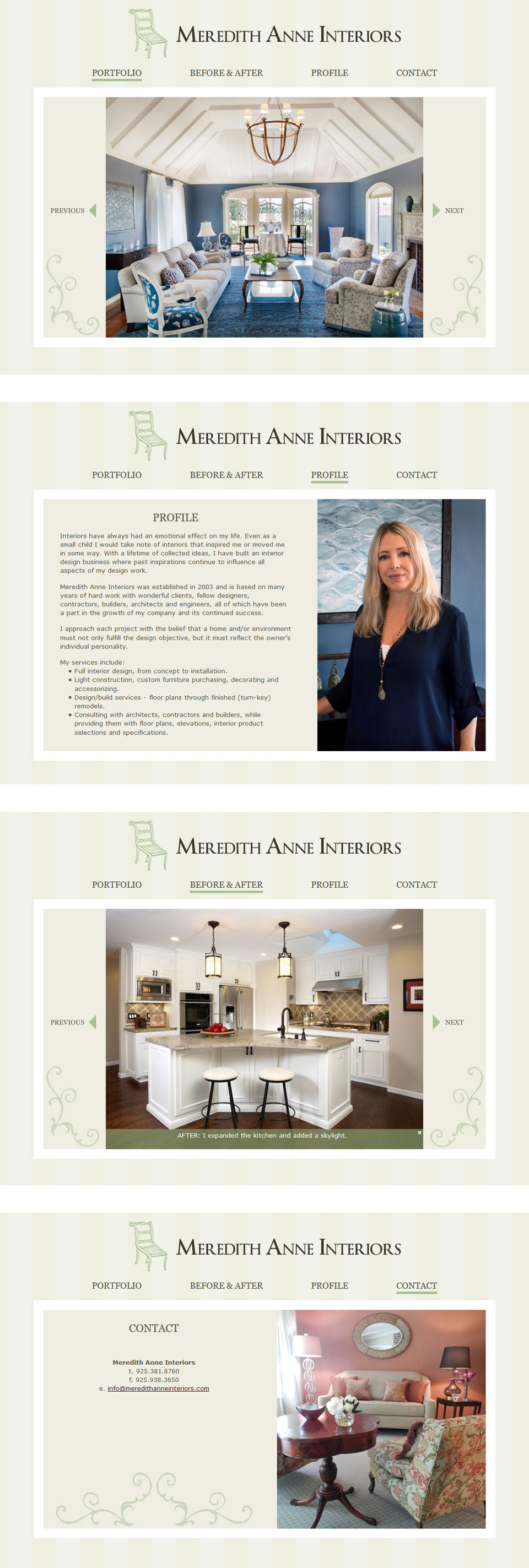 Interior Design Website Design for Meredith Anne Interiors