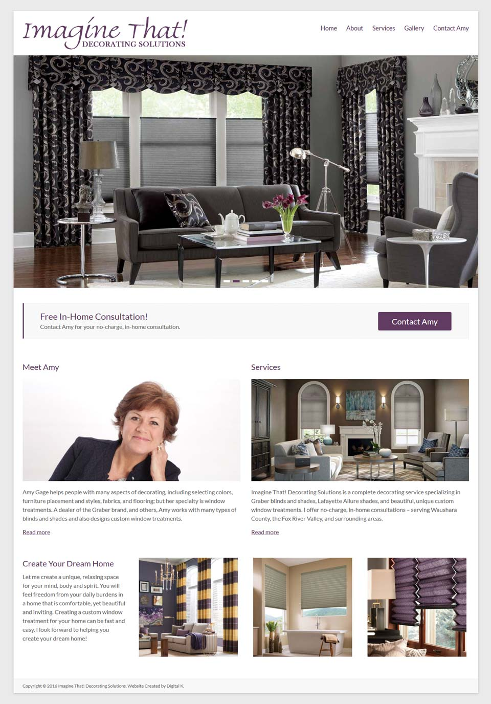 interior designer website design in WordPress