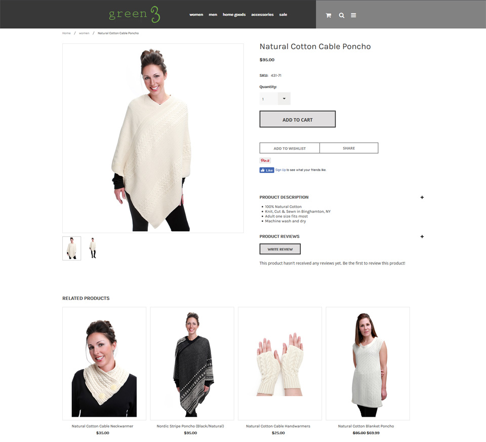 organic apparel ecommerce website