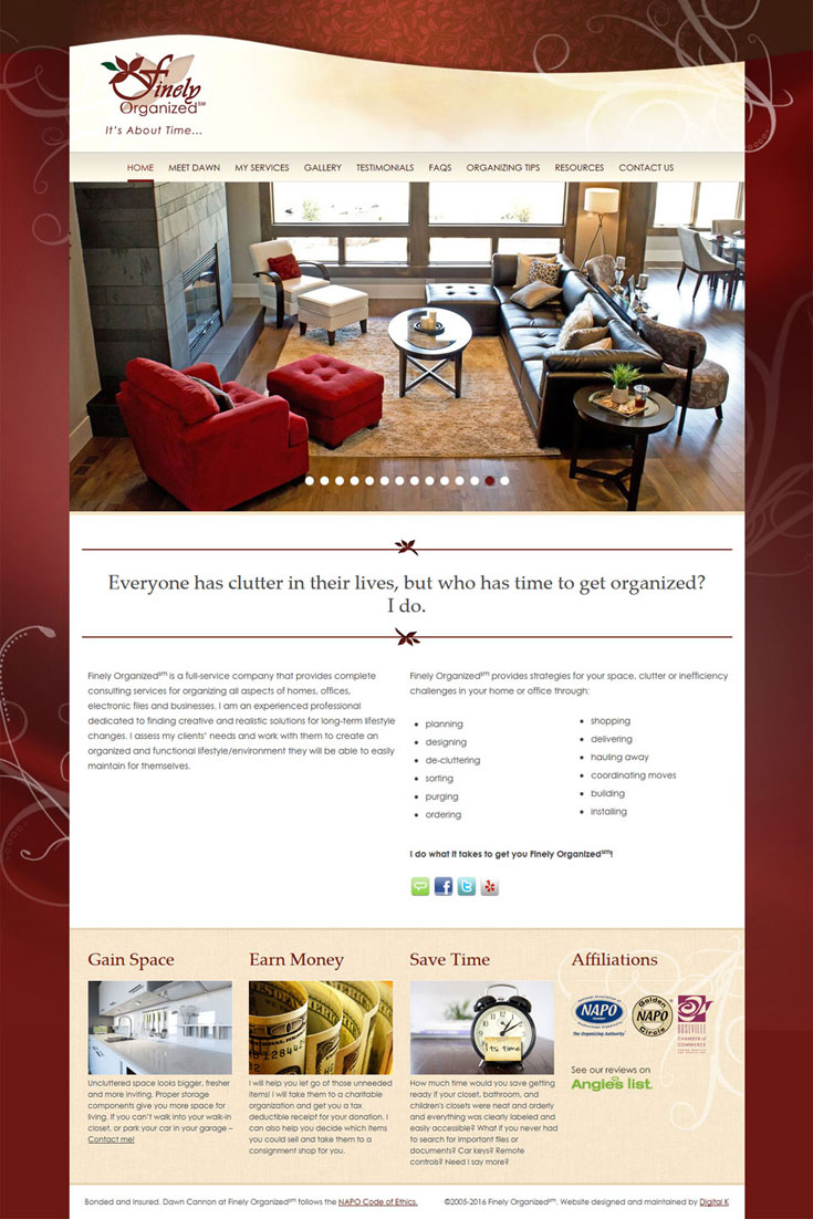 Professional Organizer Website Design. This WordPress website is responsive and mobile-friendly and includes custom photo galleries.