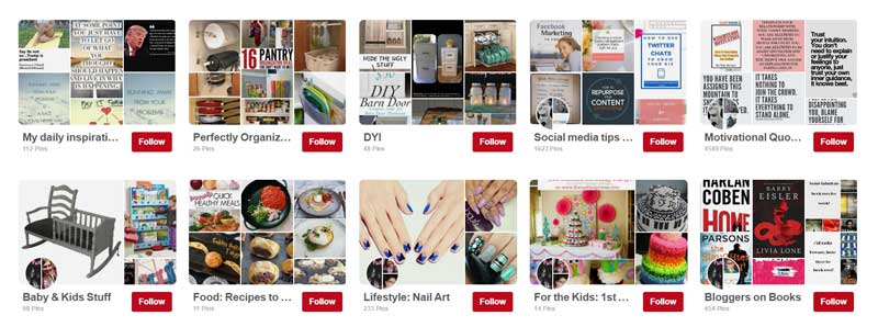 Default Pinterest board covers with the new 2016 design
