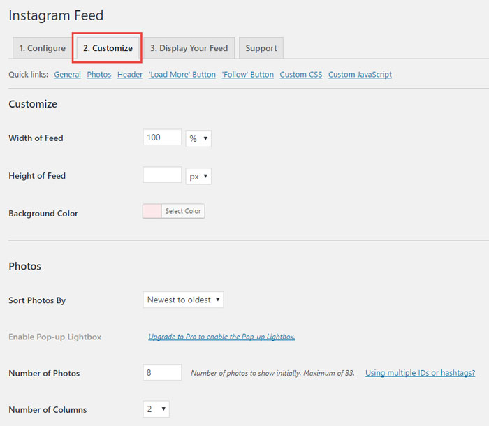 Customize the Appearance of your Instagram Feed on WordPress