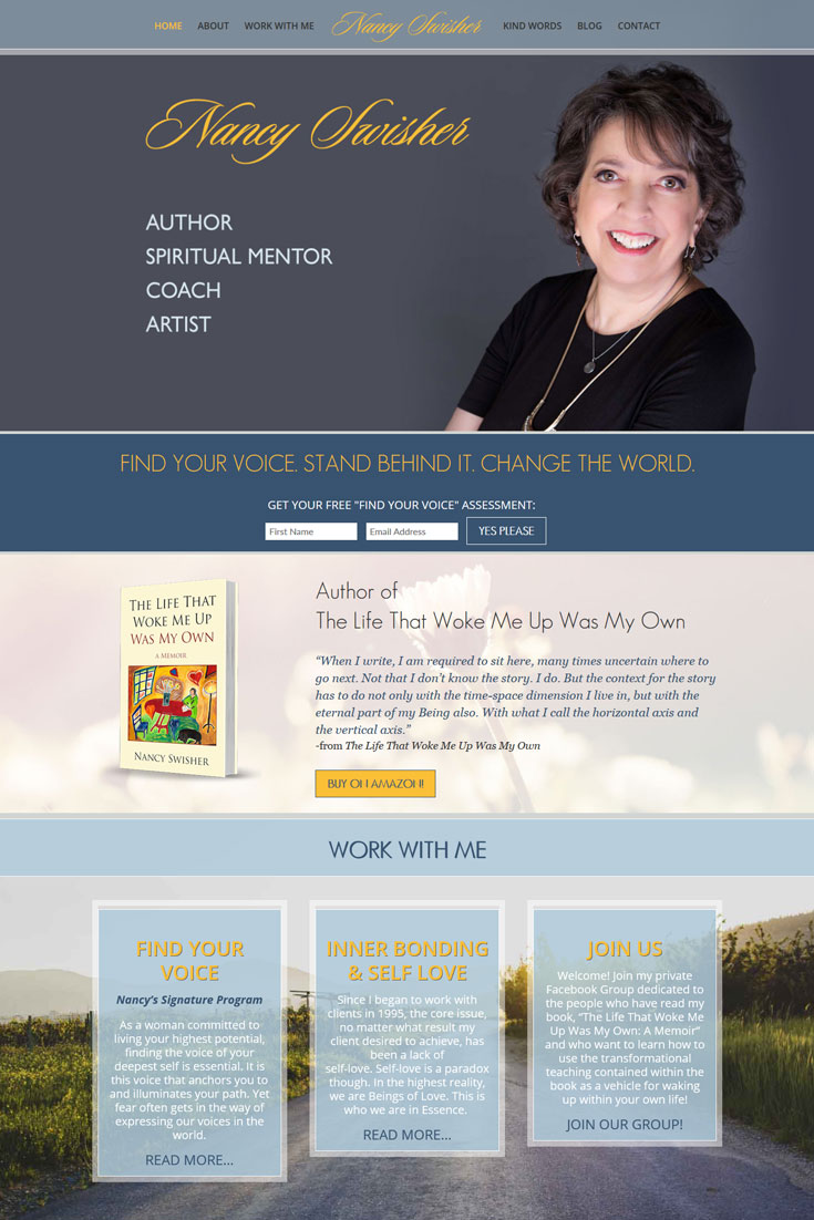 Website Design: Author and Coach: Nancy Swisher