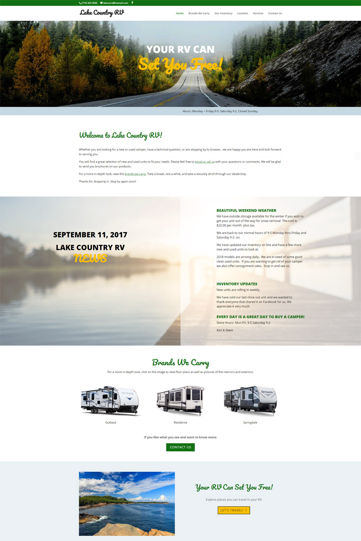 Website Design for RV Dealer: Lake Country RV