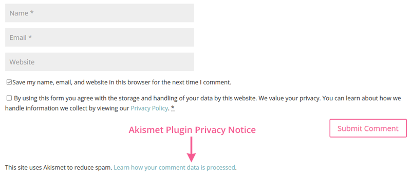 Akismet privacy notice in WordPress blog comments form