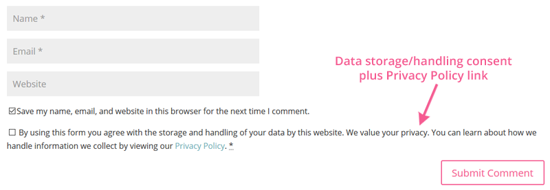 Data Storage and Handling Consent and Privacy Policy link in WordPress blog comments form