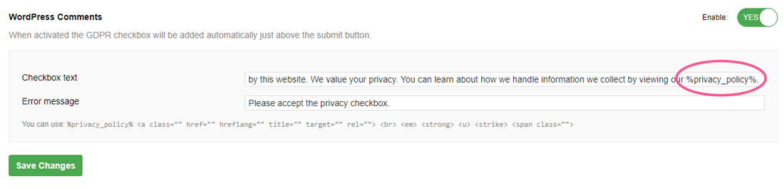 Linking to your Privacy Policy in your GDPR checkbox on WordPress blog comments forms