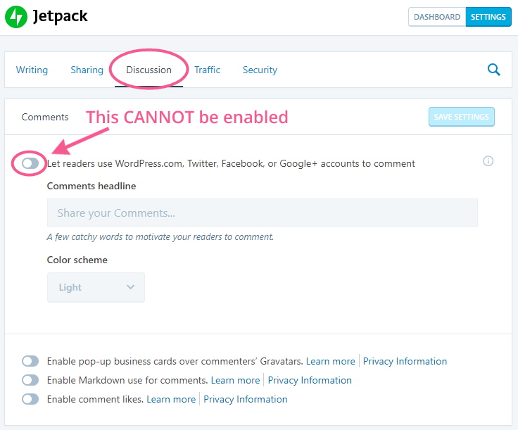 Jetpack Settings for Blog Comments