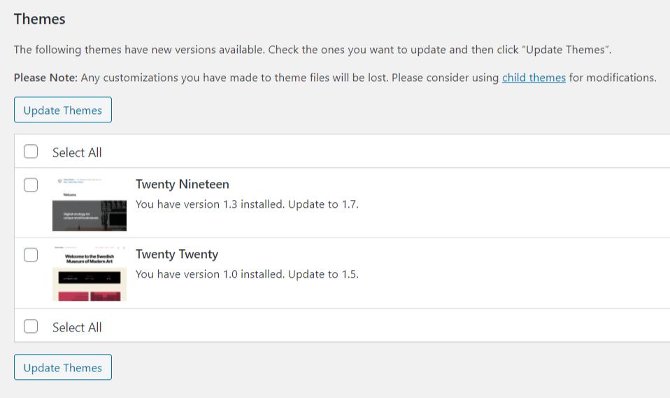 Installing WordPress Theme Updates
