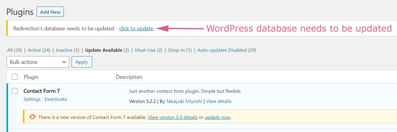 WordPress Database Update Needed