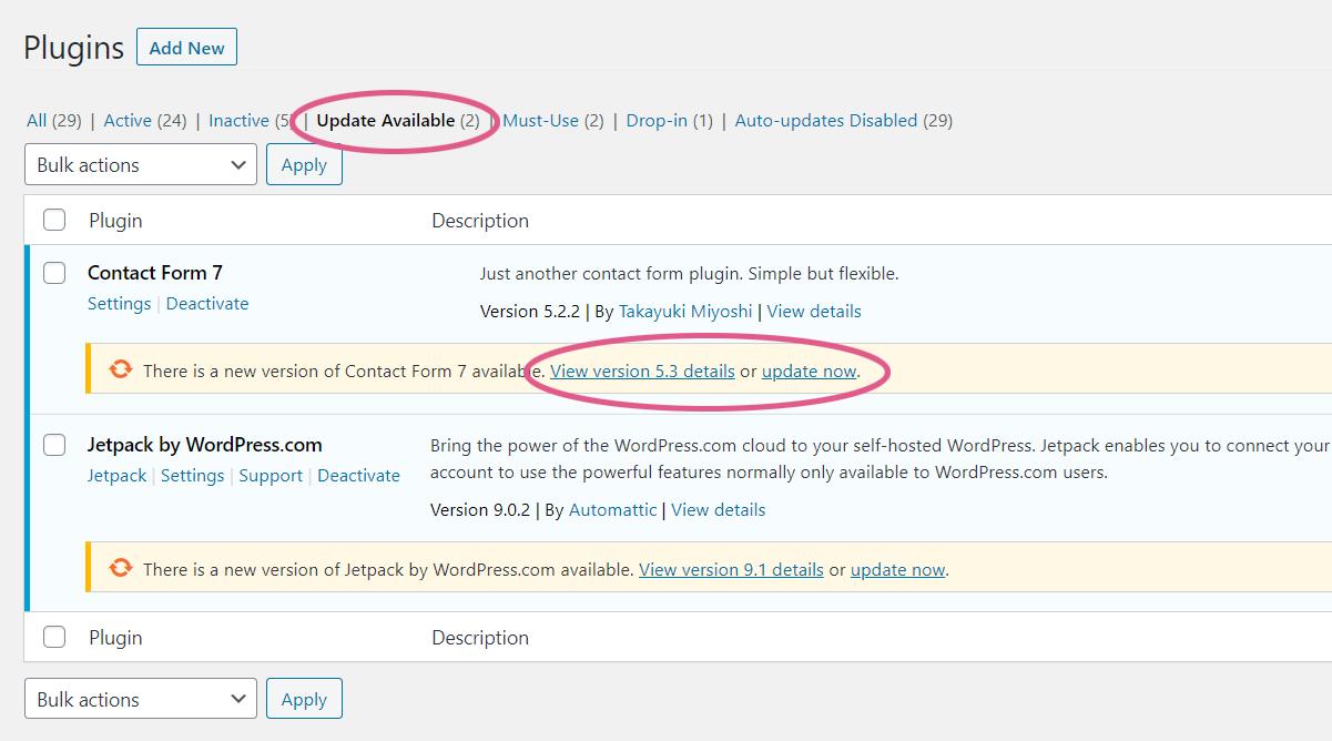 WordPress Plugin Updates Available